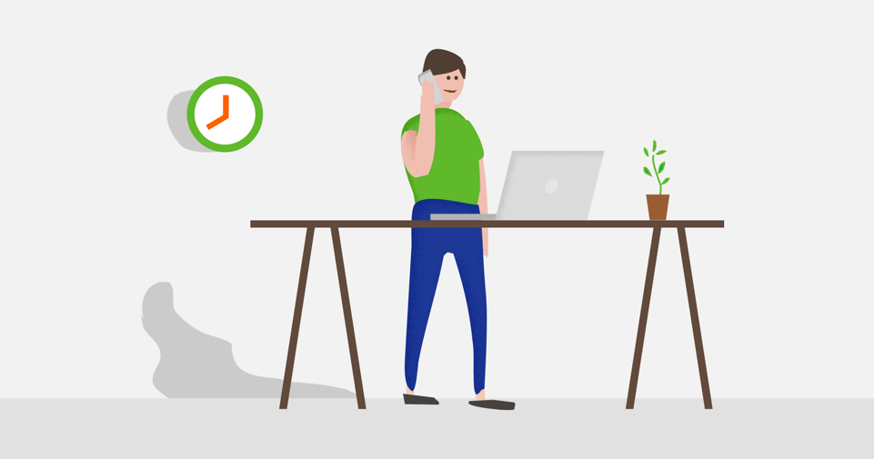 Illustration of a team member using DeskTime productivity software
