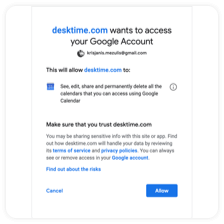 Allowing DeskTime's time tracker integration to connect with Google Calendar
