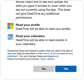 Log into your Microsoft account and press Yes to allow DeskTime to access your calendar