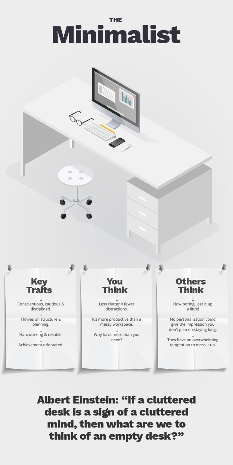 Tidy minimalist desk