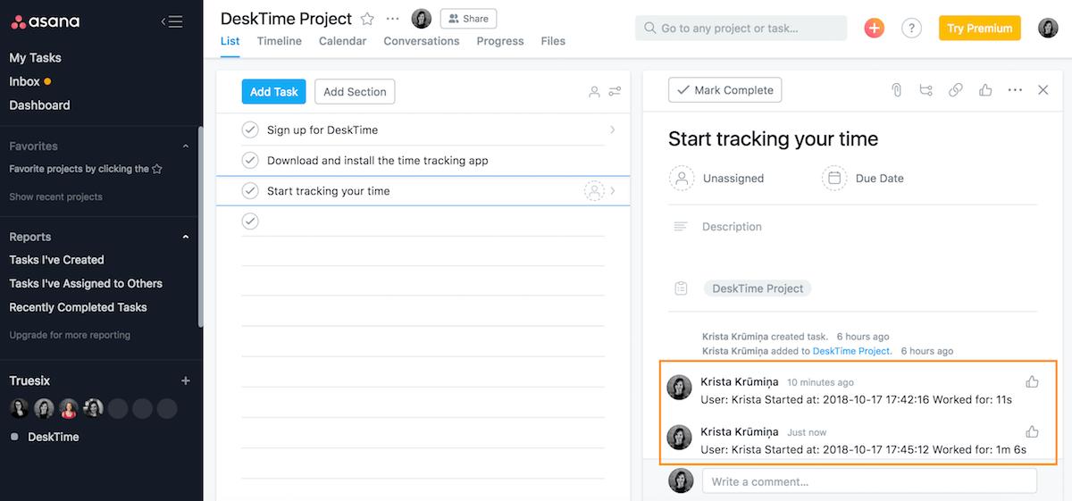 time tracking asana integration