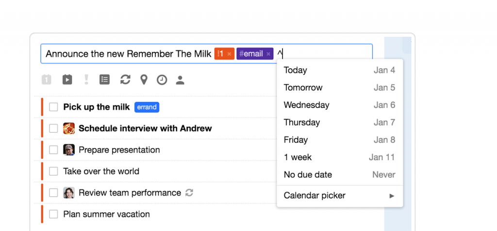 Remember the milk to-do list and time management app