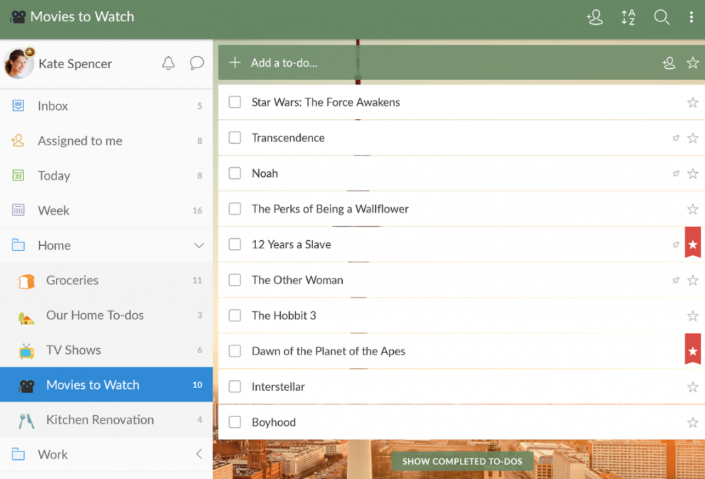 Wunderlist to-do list and time management app