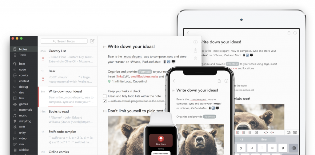 BearApp for notes and to-do lists