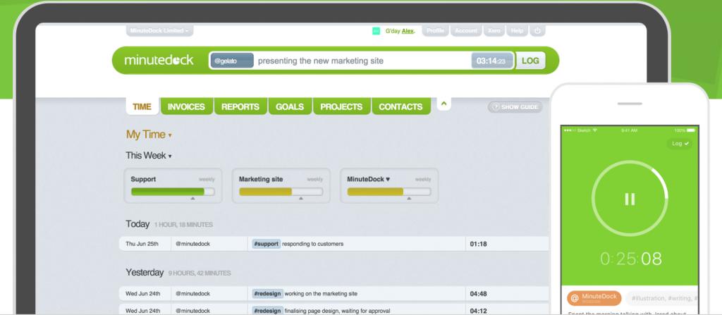 A screenshot of Minute Dock timesheet management software
