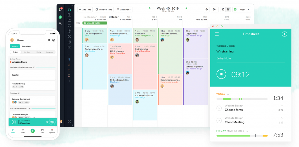 A screenshot of Paymo employee timesheet app