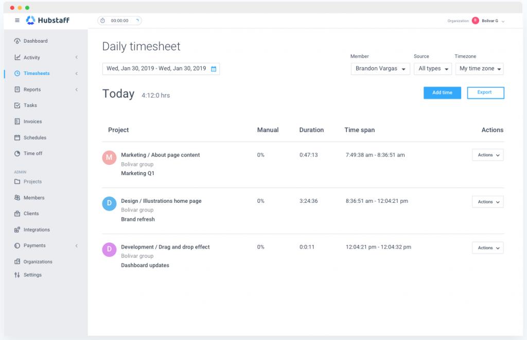 A screenshot of Hubstaff timesheet app