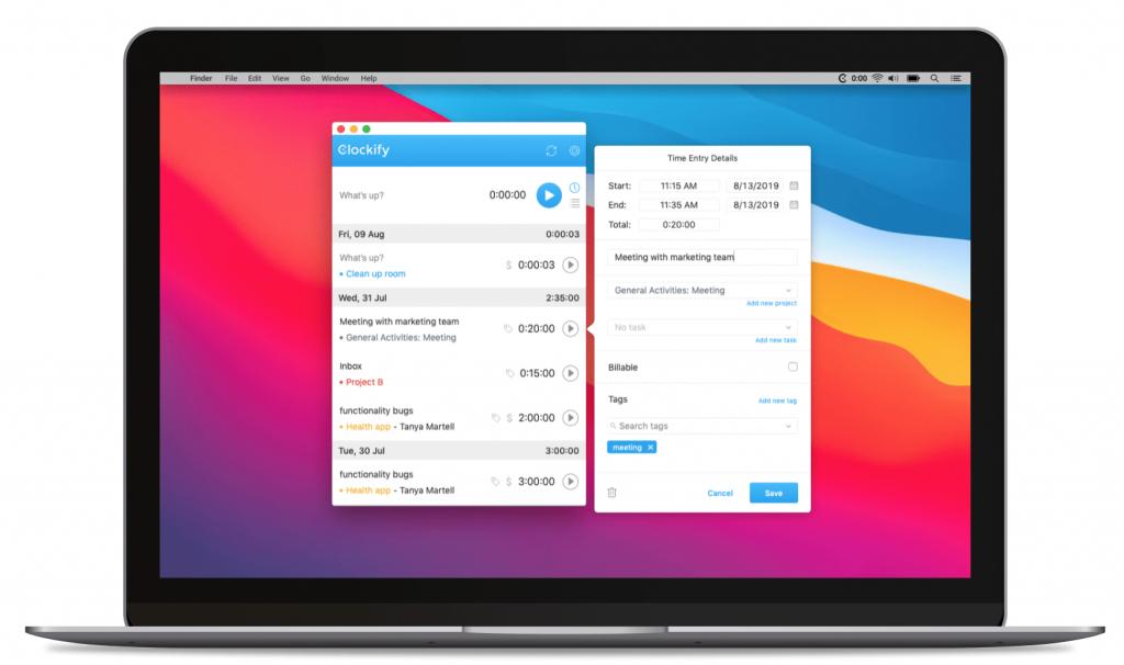 A screenshot of Clockify timesheet management software