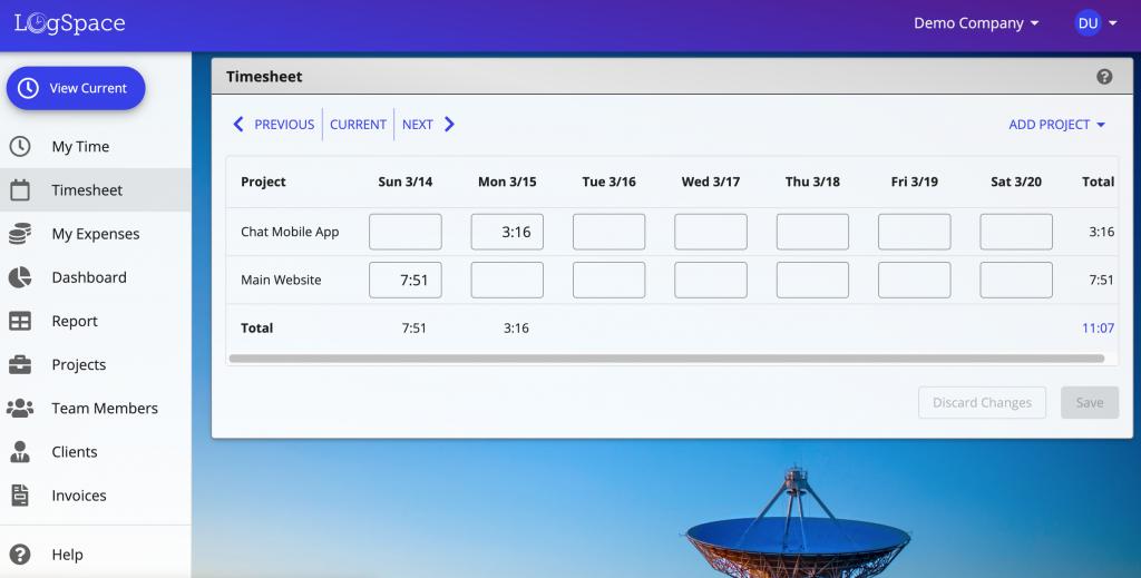A screenshot of LogSpace online timesheet software