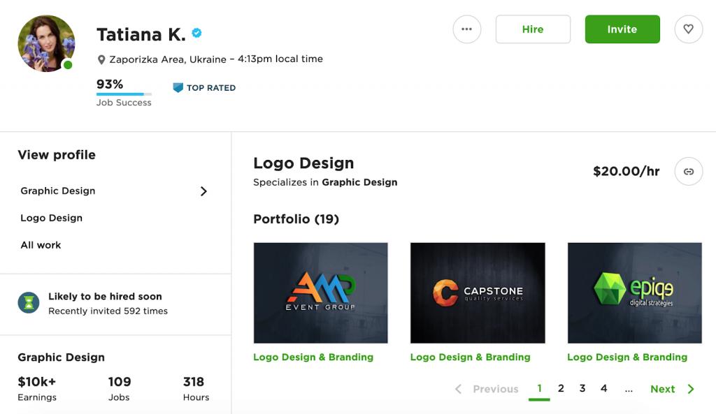 How to make money on Upwork portfolio example