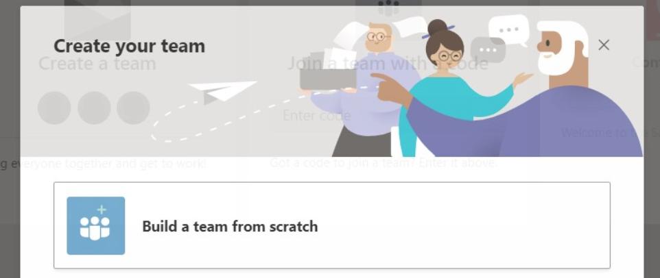 Building team from scratch on Microsoft Teams desktop app