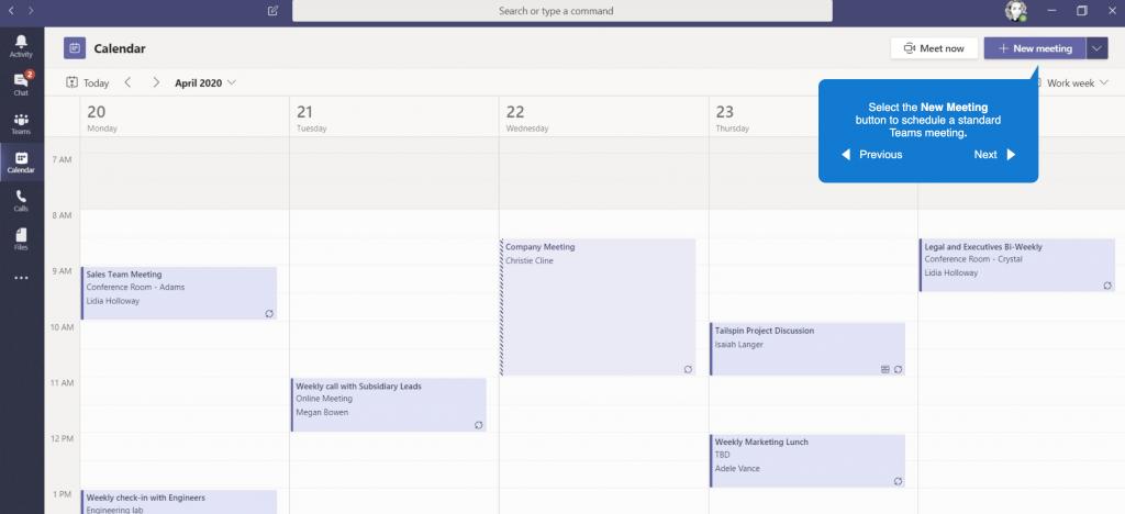 Calendar of Microsoft Teams