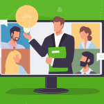 Illustration of a team video call