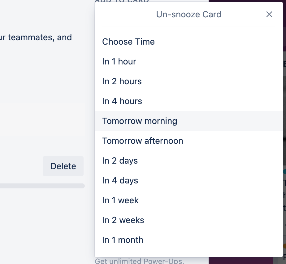 Trello tip in a screenshot from the app