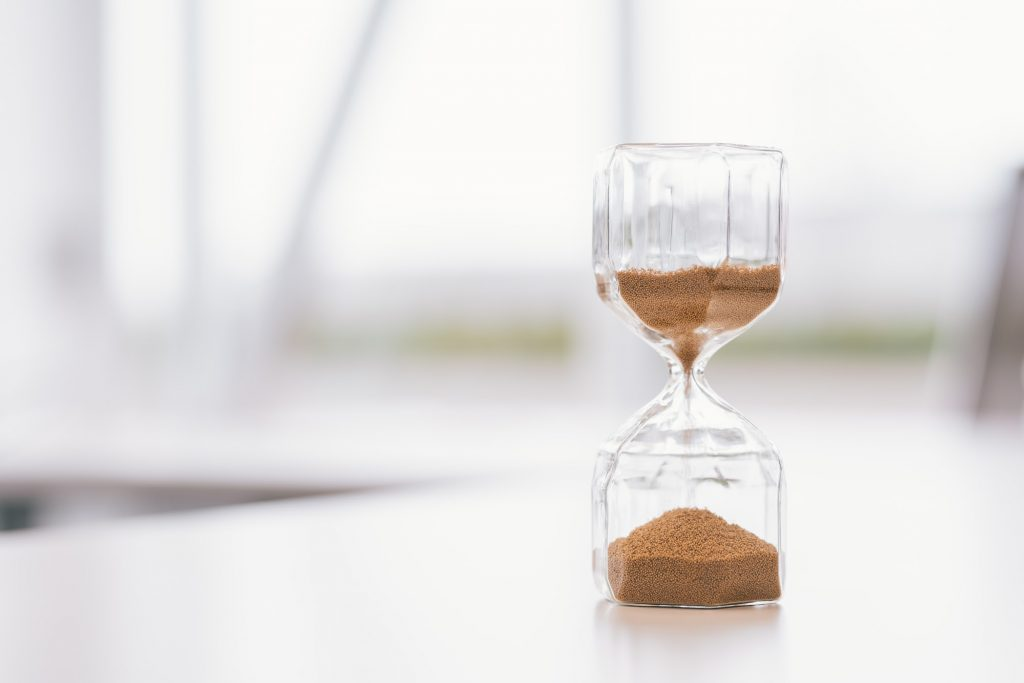 Hourglass on a table
