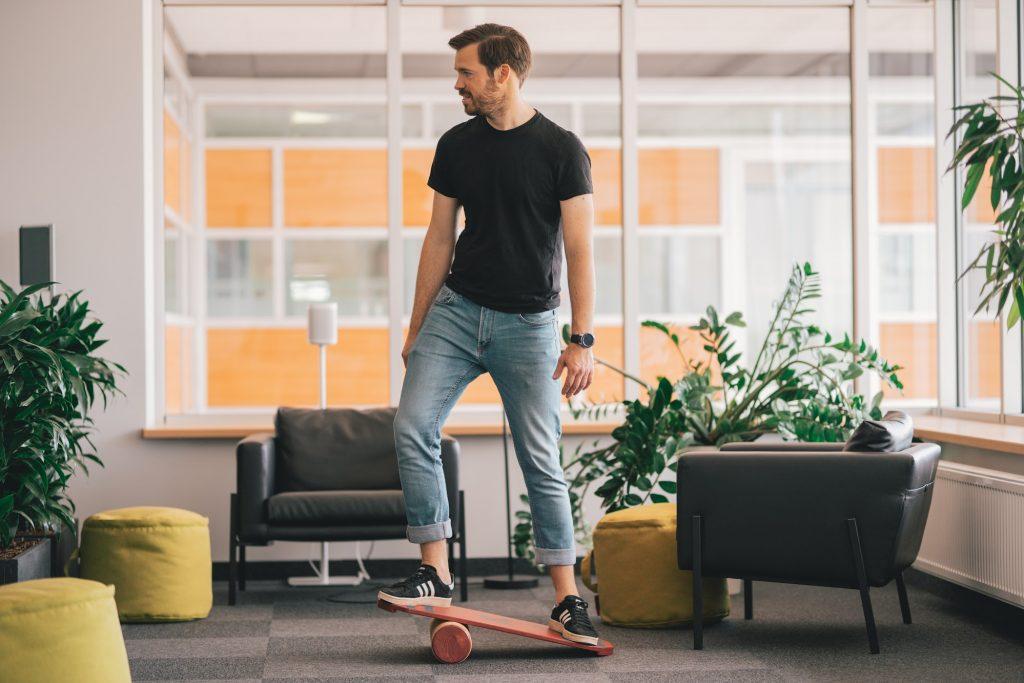 Man on a balance board