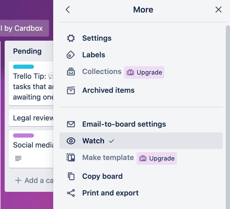 A screenshot from Trello app